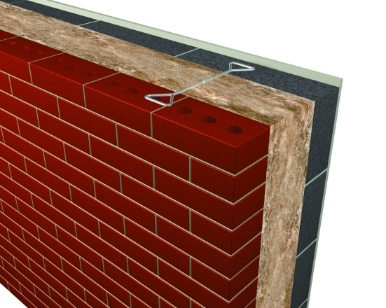 3D Render - Masonry Cavity Wall  Full-fill with built-in glass mineral wool Earthwool DriTherm Cavity Slab